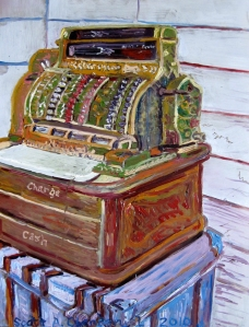 antique cash register painting
