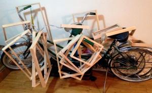 Last year I used my 1964 Schwinn tandem bike as a drying rack for my frames.