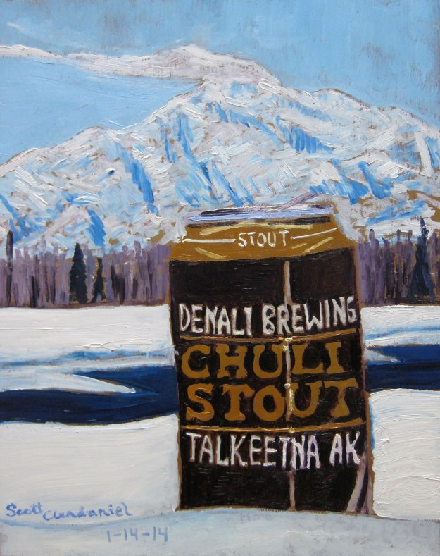 "Year of Beer 01.14, Chuli Stout from Denali Brewing Co. Oil on panel, 8""x10""."