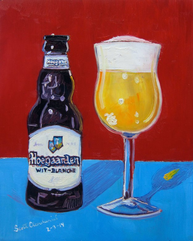 "Year of Beer 02.03 Hoegaarden. Oil on panel, 8""x10""."