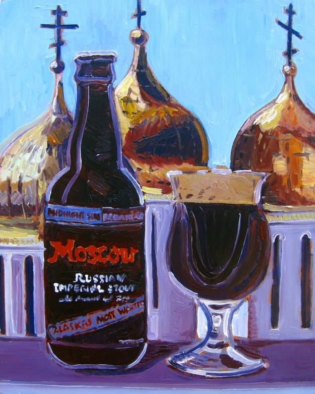 """Beer painting of Moscow Russian Imperial Stout by Midnight Sun Brewing Company. Year of Beer 03.22. Oil on panel, 8""""x10""""."""