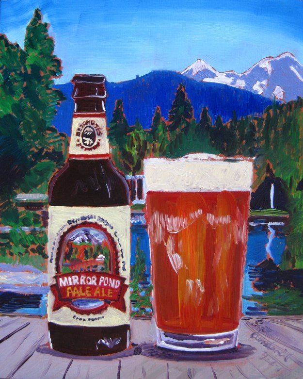 Beer Painting of Mirror Pond Pale Ale by Deschutes Brewing Year of Beer Paintings