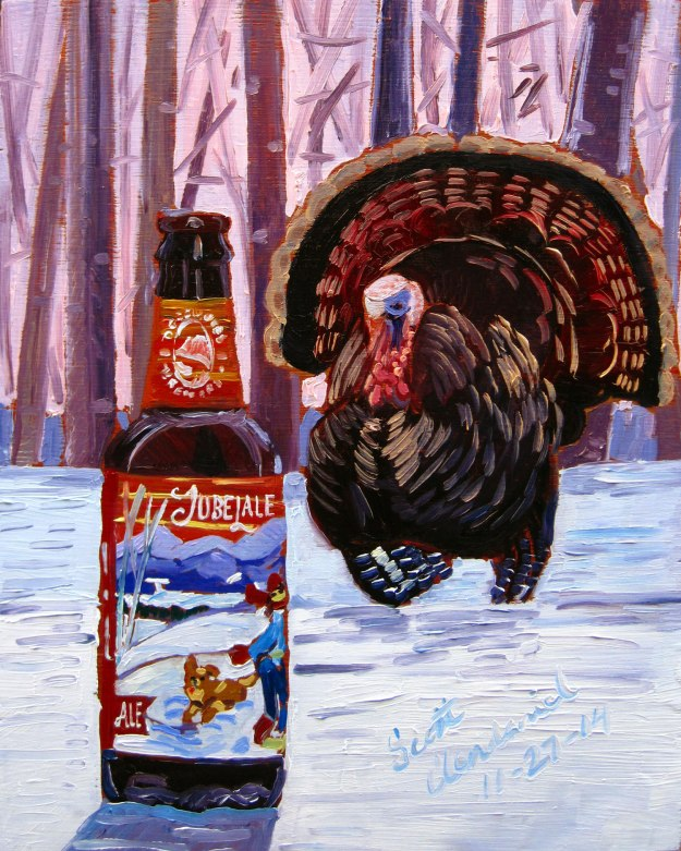Beer Painting of Jubelale Winter Ale by Deschutes Brewing Year of Beer Paintings Thanksgiving turkey Scott Clendaniel