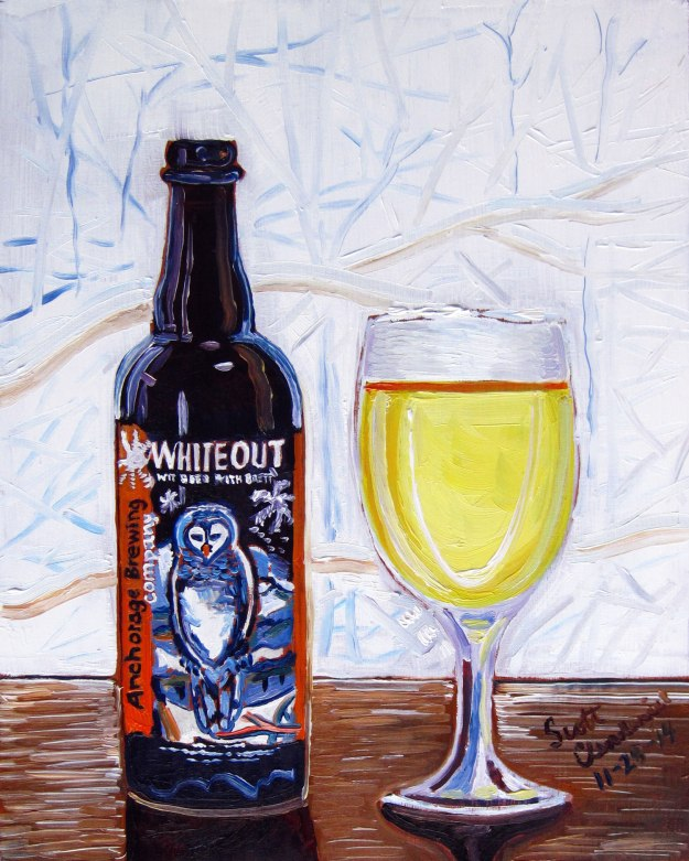 Beer Painting of Whiteout Wit Bier with Brett by Anchorage brewing company year of Beer paintings scott clendaniel