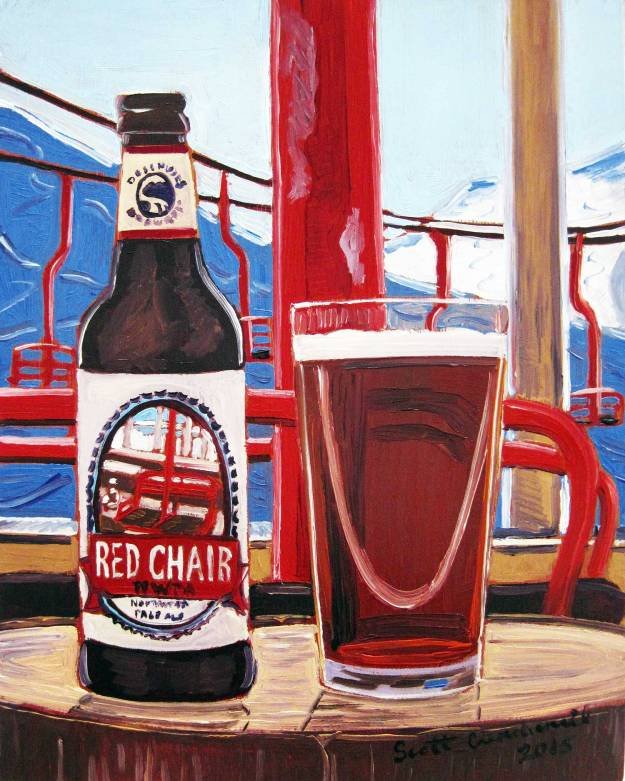 Beer Art Oil Painting of Deschutes Brewing Red Chair NWPA by Scott Clendaniel