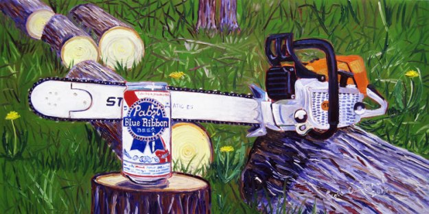 PBR and Stihl Chainsaw Beer Painting by Scott Clendaniel