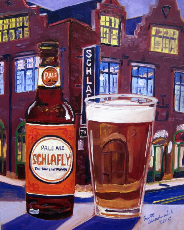 Schlafly Pale Ale beer painting by Scott Clendaniel
