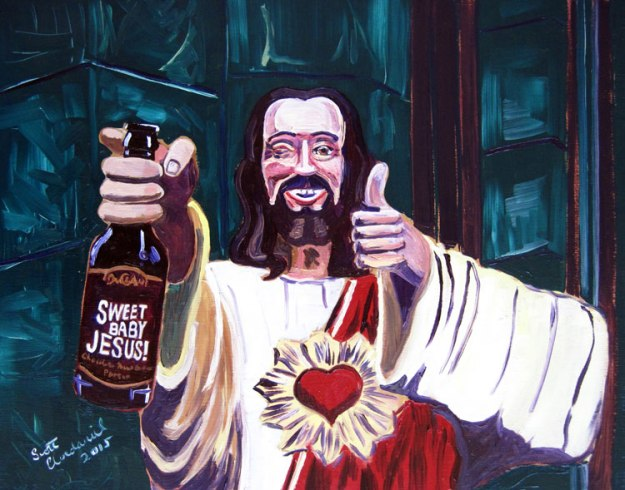 Buddy Jesus and Sweet Baby Jesus painting by Scott Clendaniel