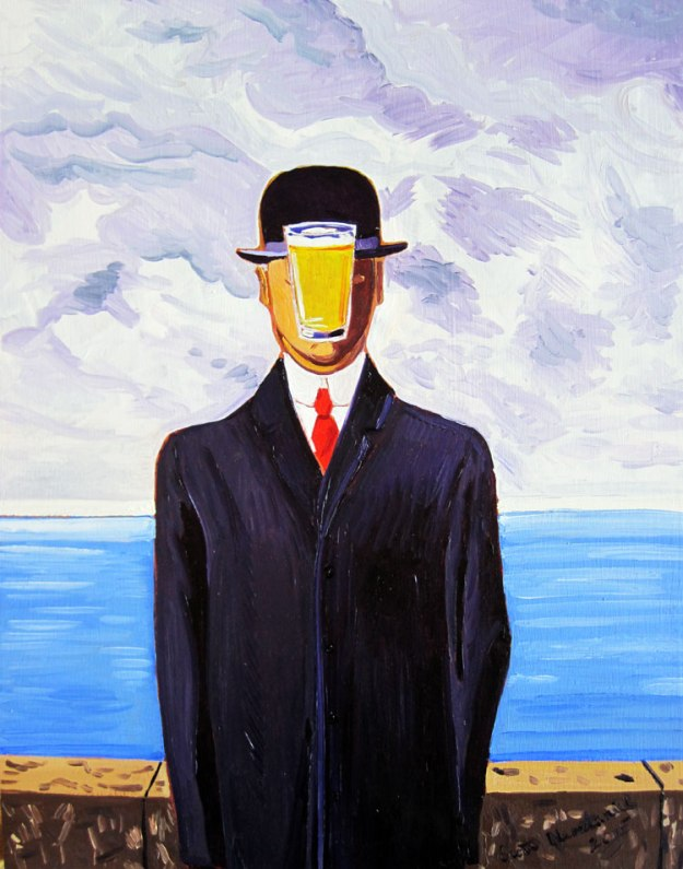 The son of man beer pint magritte painting by scott clendaniel