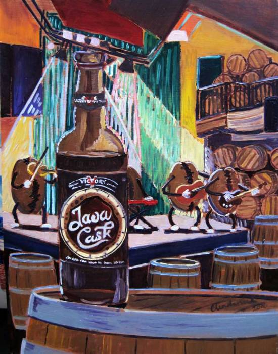 "Thirsty Thursday Beer Painting #62 by Scott Clendaniel. March 3, 2016. Java Cask by Victory Brewing Co. 11""x14"", oil on panel."