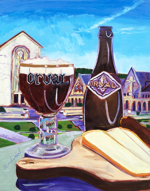 "Thirsty Thursday Beer Painting #66 by Scott Clendaniel. March 31, 2016. Orval Trappist Ale. 11""x14"", oil on panel."