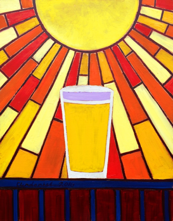 "Thirsty Thursday Beer Painting #70 by Scott Clendaniel. Light-Struck. April 28, 2016. 14""x11"", oil on panel."