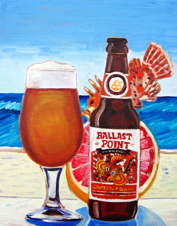 "Thirsty Thursday Beer Painting #73 by Scott Clendaniel. May 19, 2016. Grapefruit Sculpin by Ballast Point Brewing Co. 8""x10"", oil on panel."