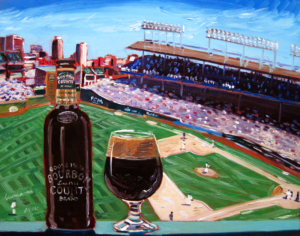 """Thirsty Thursday Beer Painting #98 by Scott Clendaniel. November 10, 2016. Bourbon County Brand Stout by Goose Island Beer Co., 14""""x11"""", oil on panel."""