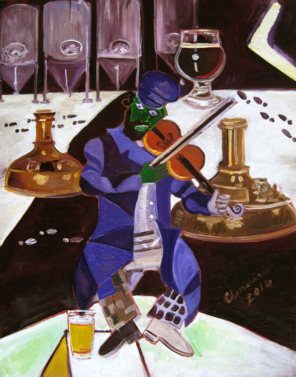 "Thirsty Thursday Beer Painting #103 by Scott Clendaniel. Beer parody of The Green Violinist by Marc Chagall. Beer on the House, by Scott Clendaniel. 11""x14"", oil on panel."