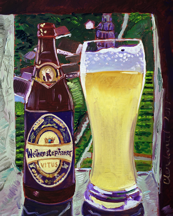 "Thirsty Thursday Beer Painting #108. Weihenstephaner Vitus. By Scott Clendaniel. 8""x10"", oil on panel."