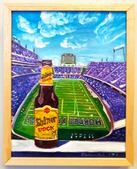 "Shiner Bock custom beer painting. 11""x14"", oil on panel."