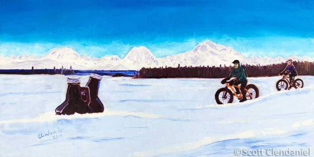 fat bikers beer denali trio fat biking race painting Scott Clendaniel