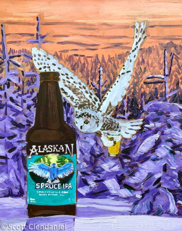 "Thirsty Thursday Beer Painting #132. Spruce IPA by Alaskan Brewing Co. 8""x10"", oil on panel. By Scott Clendaniel."