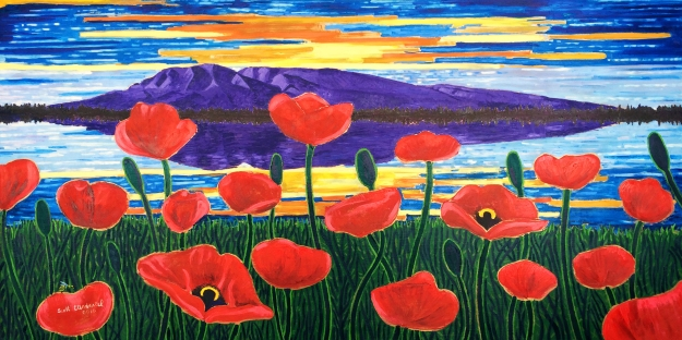 Large oil painting for big empty wall Scott Clendaniel Susitna Poppies