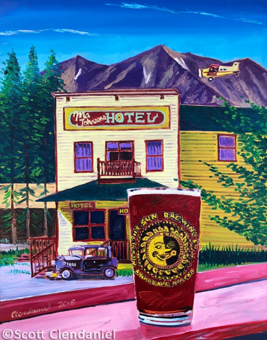 "Thirsty Thursday Beer Painting #144. Sockeye Red IPA by Midnight Sun Brewing Co. at the Golden Saloon in McCarthy, Alaska. 11""x14"", oil on panel. By Scott Clendaniel."