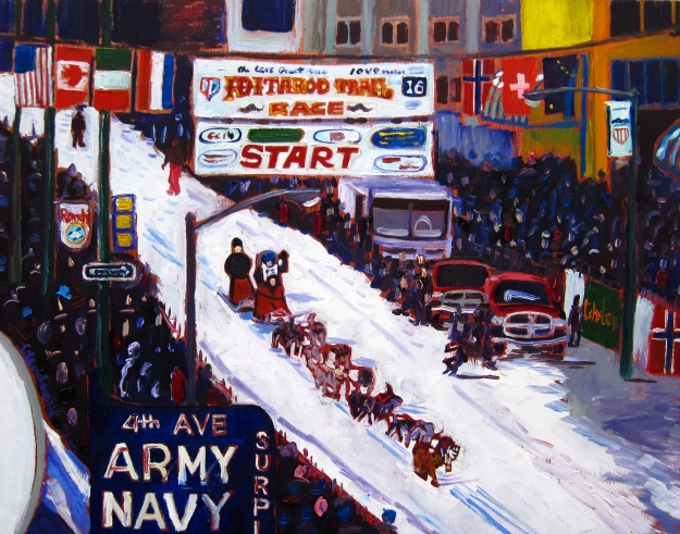 Iditarod oil painting by Alaskan artist Scott Clendaniel