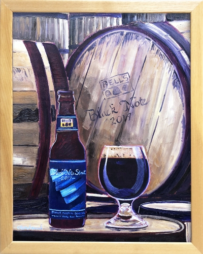 Black Note Stout by Bell's Brewing Oil Painting by Beer Artist Scott Clendaniel