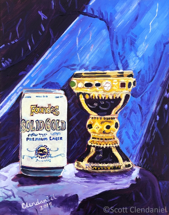 "Solid Gold Premium Lager by Founders Brewing Co. Oil on panel, 8""x10"", by Scott Clendaniel."