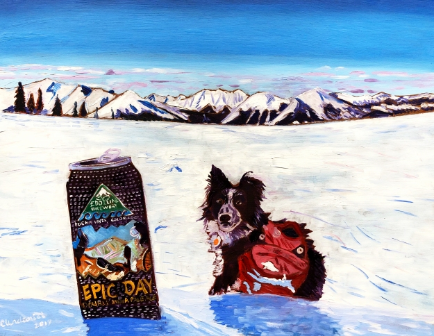 Custom dog portrait oil painting beer painting