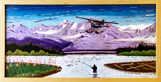 Alaska float plane aviation oil painting custom